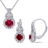 2 PC SET OF 3 5/8 CT TGW Created White Sapphire Created Ruby Earrings & Pendant w/chain in Sterling Silver - 75000004948