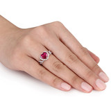 1/10 CT Diamond TW and 1 5/8 CT TGW Created Ruby Fashion Ring in Sterling Silver - 75000004867