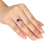 0.05 CT Diamond TW and 1 5/8 CT TGW Created Ruby Fashion Ring in Sterling Silver - 75000004865
