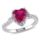 1/10 CT Diamond TW and 2 4/5 CT TGW Created Ruby Fashion Ring in Sterling Silver - 75000004872