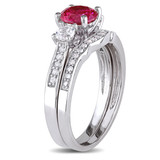 1/7 CT Diamond TW & 1 1/3 CT TGW Created Ruby Created White Sapphire Bridal Set Ring in 10k White Gold - 75000004881