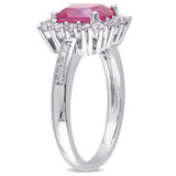 0.05 CT Diamond TW & 3 3/4 CT TGW Created Ruby Created White Sapphire Fashion Ring in Sterling Silver - 75000004887