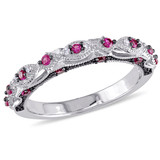 0.03 CT Diamond TW and 1/3 CT TGW Created Ruby Fashion Ring in 10k White Gold - 75000004891