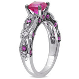 0.07 CT Diamond TW and 1 5/8 CT TGW Created Ruby Fashion Ring in 10k White Gold - 75000004890