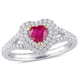 2/5 CT Diamond TW and 3/5 CT TGW Ruby-CN Heart Ring in 14k White Yellow Gold - 75000004870