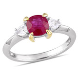 1 1/3 CT TGW Ruby White Sapphire Fashion Ring in 14k White Yellow Gold - 75000004907