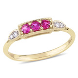 0.04 CT Diamond TW and 1/4 CT TGW Created Ruby Fashion Ring in 10k Yellow Gold - 75000004908