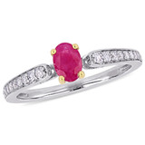 1/6 CT Diamond TW and 5/8 CT TGW Ruby-CN Fashion Ring in 10k White Yellow Gold - 75000004912