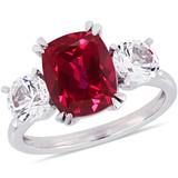 6 1/10 CT TGW Created Ruby Created White Sapphire Fashion Ring in 10k White Gold - 75000004916