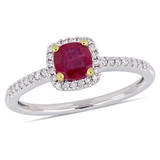 1/7 CT Diamond TW and 5/8 CT TGW Ruby-CN Fashion Ring in 10k White Yellow Gold - 75000004917