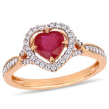 1/4 CT Diamond TW and 1 CT TGW Ruby-CN Fashion Ring in 14k Pink Gold - 75000004919