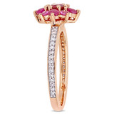 1/6 CT Diamond TW & 1 1/7 CT TGW Ruby Pink Sapphire Fashion Ring in 14k Pink Gold - 75000004896