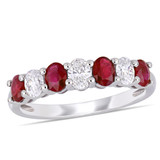 0.54 CT Oval Diamond TW and 4/5 CT TGW Ruby Fashion Ring in 14k White Gold - 75000004921