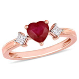 1/5 CT Princess Diamond TW and 1 CT TGW Ruby-CN Fashion Ring in 14k Pink Gold - 75000004924