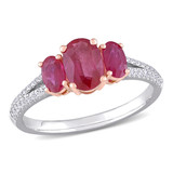 1/6 CT Diamond TW and 1 1/2 CT TGW Ruby-CN Fashion Ring in 14k White Pink Gold - 75000004931