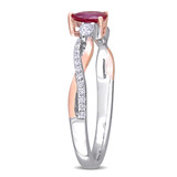 1/5 CT Pear & Round Diamonds TW & 0.45 CT TGW Ruby-CN Fashion Ring in 14k White Pink Gold - 75000004935