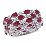 1/2 CT Diamond TW and 6 3/4 CT TGW Ruby Fashion Ring in 14k White Gold - 75000004938