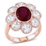 8 3/5 CT TGW Created Ruby Created White Sapphire Fashion Ring in 10k Pink Gold - 75000004940