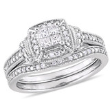 1/3 CT Princess and Round Diamonds TW Fashion Ring 10k White Gold GH I2;I3 - 75000004372