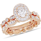 1 CT Oval and Round Diamonds TW Fashion Ring 14k Pink Gold GH I1;I2 - 75000004381