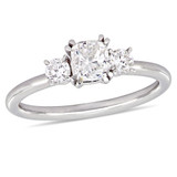 1 CT Cushion and Round Diamonds TW Fashion Ring 14k White Gold GH I1 - 75000004341