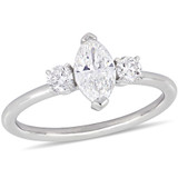 1 CT Marquise and Round Diamonds TW Fashion Ring 14k White Gold GH I1 - 75000004342