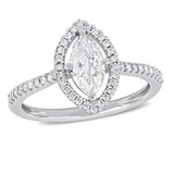 1 CT Marquise and Round Diamonds TW Engagement Ring 14k White Gold GH I1 - 75000004349