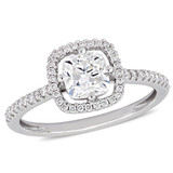 1 1/5 CT Cushion and Round Diamonds TW Engagement Ring 14k White Gold GH I1 - 75000004345