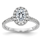 1.26 Moissanite and 1.32ct TDW Diamond Halo Engagement Ring in 14k White Gold - IJ00040079