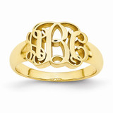 Custom Made Signet Initial Ring in Gold Plated Sterling Silver - IJ00040110