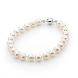 White Round 6-6.5mm Bracelet 19cm Sterling Silver Clasp - IC-W6-BSS