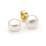 9ct Yellow Gold 8mm Button White Freshwater Pearl Stud Earrings - IE-EJ4-14-8MM