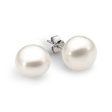 Sterling Silver White Button 9mm Freshwater Pearl Stud Earrings - IE-EJ4-SS-9MM