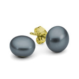 9ct Yellow Gold Black Button 12mm Freshwater Pearl Stud Earrings - IE-EJ6-14-12MM