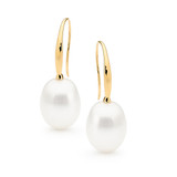9ct Yellow Gold White 9-9.5mm Drop Freshwater Pearl Hook Earrings - IP005E-9YG