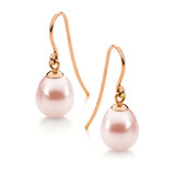 9ct Rose Gold Pink 7.5-8mm Freshwater Pearl Hook Earrings - IP19PRG