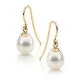 9ct Yellow Gold White 9-9.5mm Freshwater Pearl Hook Earrings - IP74WYG