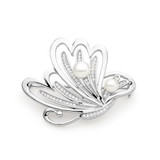 Sterling Silver White Freshwater Pearl Brooch and Pendant - IPBH044
