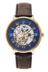 Automatic Skeleton Gold Blue/Brown Croc Leather 42mm - 323B164