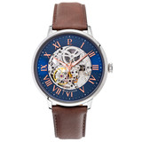 Pierre Lannier Automatic Skeleton Silver Blue/Brown Leather 39mm 322B164