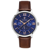 Pierre Lannier Beaucour Silver Blue/Brown Leather 42mm 253C164