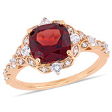 0.06 CT TDW Diamond and 3 1/2 CT TGW Garnet and White Sapphire Accent Vintage Ring in 14k Pink Gold - 75000005244