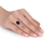 1/2 CT Diamond TW And 3 1/2 CT TGW Garnet Fashion Ring 14k Pink Gold - 75000005246