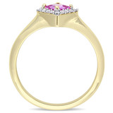 1/10 CT TDW Diamond and 0.45 CT TGW Pink Sapphire Halo Ring in 14k Yellow Gold - 75000005248