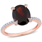 1/10 CT TDW Diamond and 2 7/8 CT TGW Garnet Solitaire Ring in 10k Pink Gold - 75000005254
