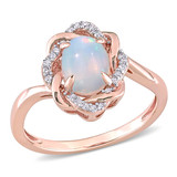 1/10 TDW CT Diamond and 3/4 CT TGW Ethiopian Opal-Blue Interlaced Halo Ring in 10k Pink Gold - 75000005256