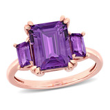 3 4/5 CT TGW Amethyst and Amethyst-Africa 3-Stone Ring in 14k Pink Gold - 75000005258