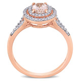 1/4 CT TDW Diamond and 3/4 CT TGW Morganite Double Halo Ring in 14k Pink Gold - 75000005259