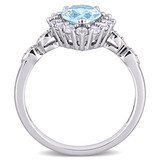 0.02 CT TDW Diamond  and 2 CT TGW Sky Blue Topaz and Created White Sapphire Accent Teardrop Halo Ring in 10k White Gold - 75000005260