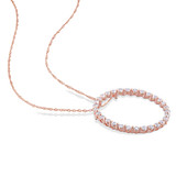 1 1/2 CT TGW White Sapphire Circle Pendant With Chain in 10k Pink Gold